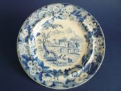 Don Pottery 'Named Italian Views - Naval Amphitheatre at Taorminum' Pearlware Dinner Plate c1820 #2